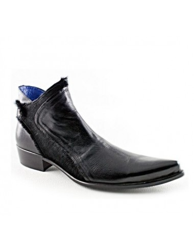 Bottines homme cuir noir pointues - Bottines homme artisanales