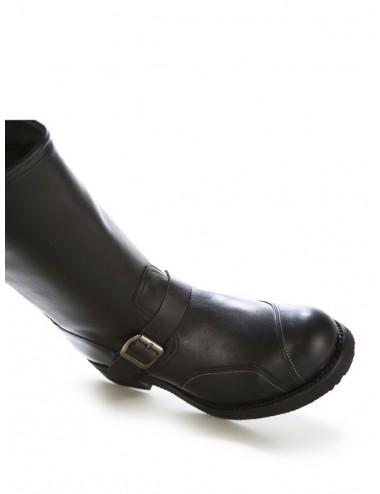 Bottes moto - Chaussures moto cuir noir bouts coqués et renforts