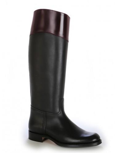 Bottes cavalières cuir noir et bordeaux élégantes - Bottes cavalières
