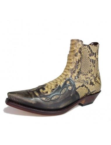 Bottines cowboy - Bottines santiags cuir et serpent véritable camel