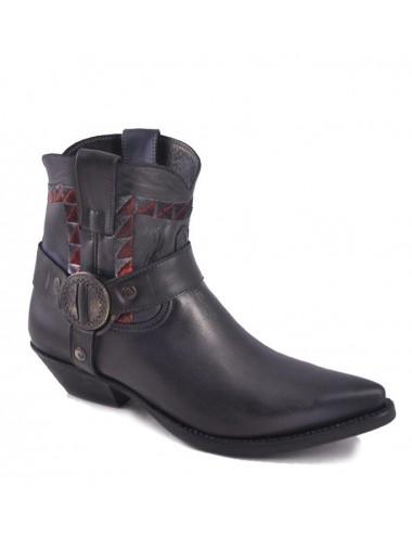 Boots western cuir noir à brides