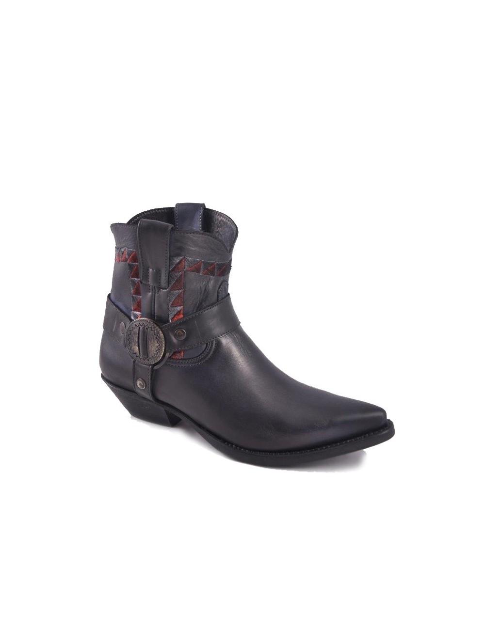 Boots western cuir noir à brides - Bottines cowboy artisanales