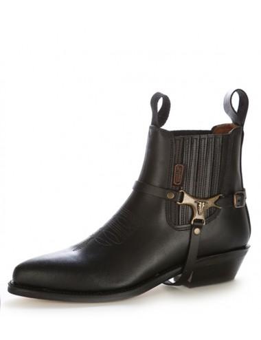 Boots western cuir noir brides buffalo - Bottines cowboy artisanales