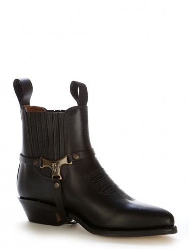 Boots western cuir noir brides buffalo