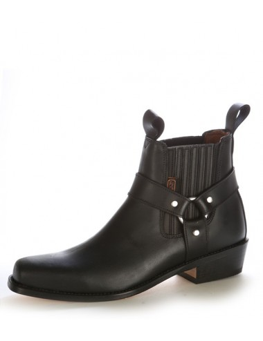 Bottines western cuir noir à brides - Bottines cowboy artisanales