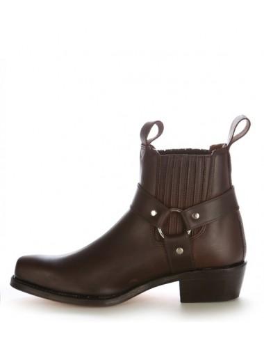 Bottines cowboy - Bottines western cuir marron à brides