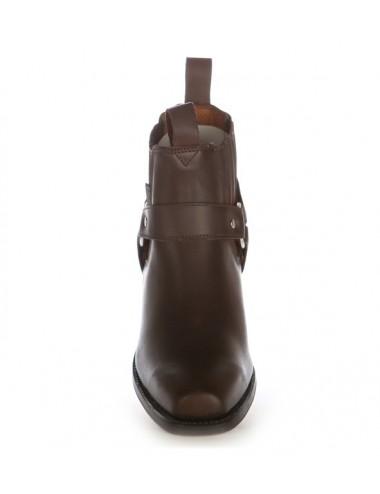 Bottines western cuir marron à brides - Bottines cowboy artisanales