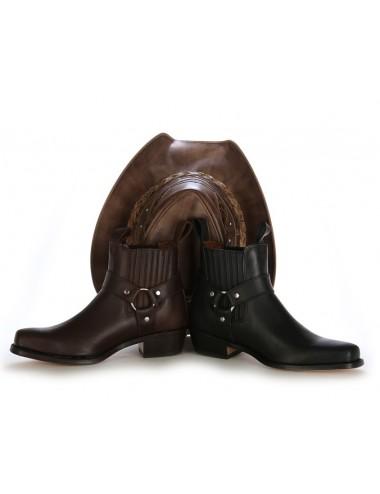 Bottines western cuir marron à brides