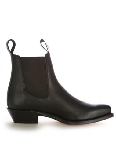 Boots western cuir à soufflets - Bottines cowboy artisanales