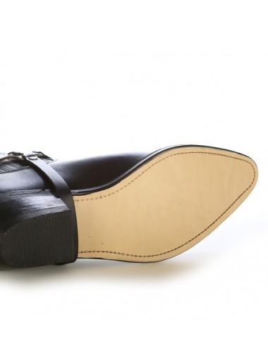 Boots western cuir à soufflets