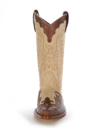 Sur mesure Bottes country bicolores cuir et serpent - Santiags sur mesure