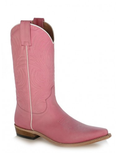 Bottes santiag country - Santiags femme cuir rose