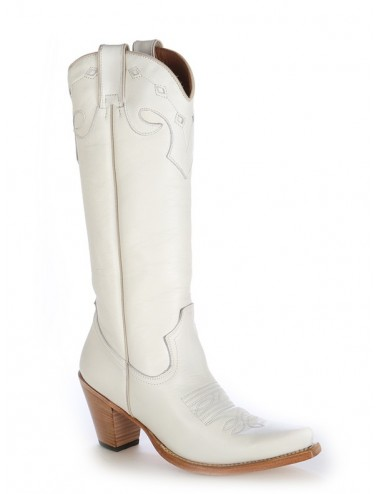 Bottes santiag country - Santiags femme blanches cuir