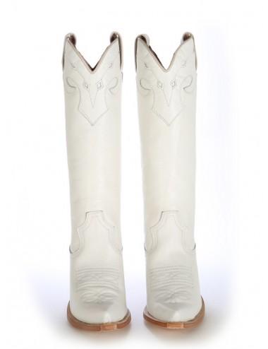 Santiags femme blanches cuir - Bottes santiag et country artisanales