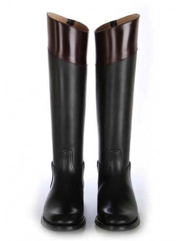 Bottes cavalières sur mesure cuir noir et bordeaux élégantes - Bottes