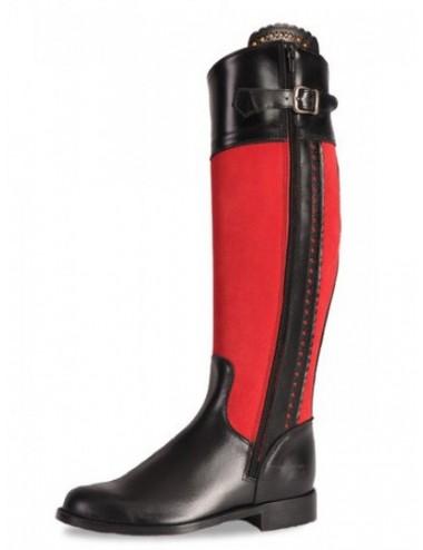 Bottes équitation cuir noir et rouge sur mesure femme - Bottes cavalières