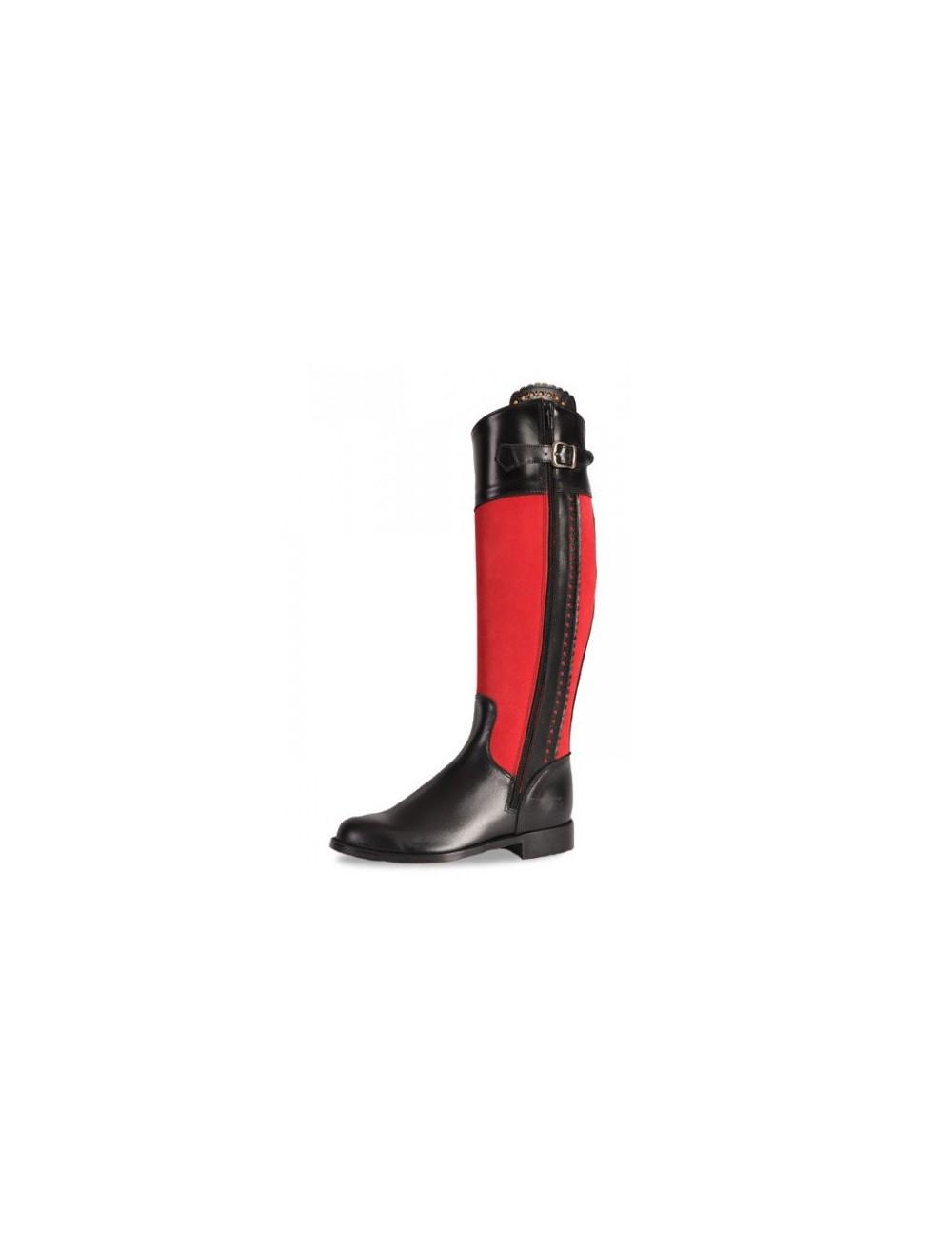 Bottes cavalières sur mesure - Bottes équitation cuir noir et rouge sur