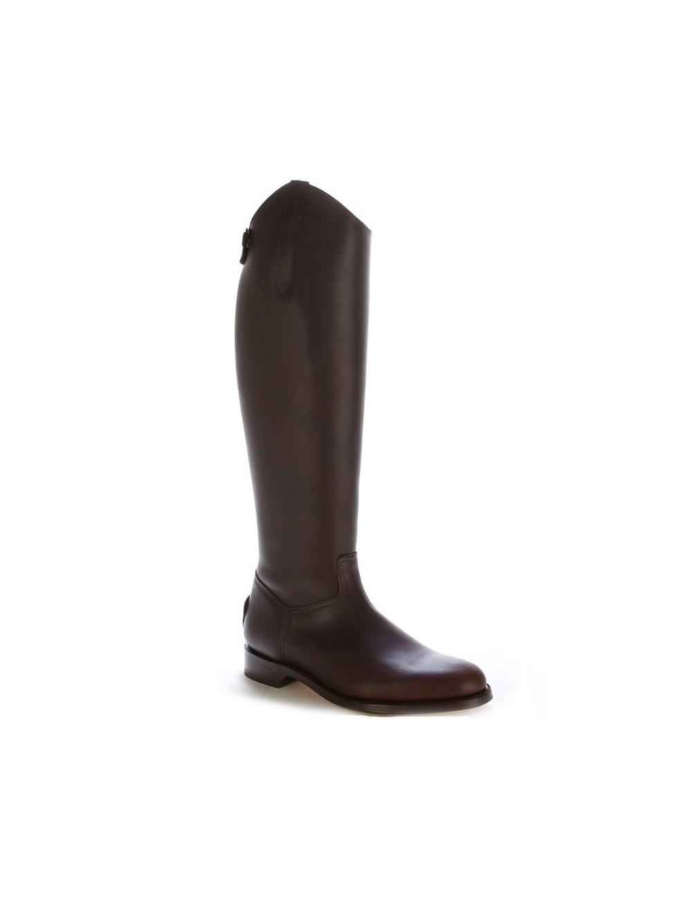 Bottes de dressage cuir marron anatomiques - Bottes équitation artisanales