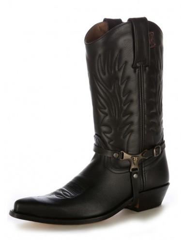 Bottes santiag country - Santiags mexicaines cuir noir brides buffalo