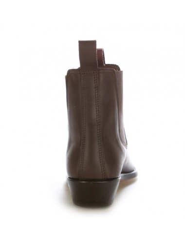 Boots western cuir marron à soufflet
