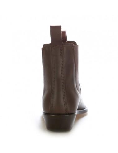 Bottines cowboy - Boots western cuir marron à soufflet