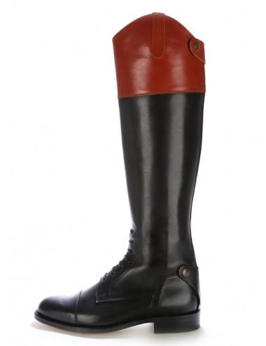 Bottes équitation cuir bicolore à lacets - Bottes équitation artisanales