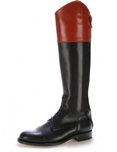 Bottes équitation sur mesure - Bottes équitation cuir bicolore à lacets