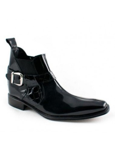 Bottines homme - Bottines homme cuir verni noir