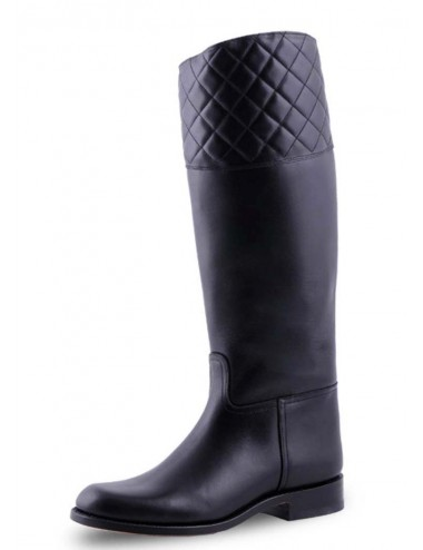 Bottes cavalières cuir noir matelassé - Bottes cavalières artisanales