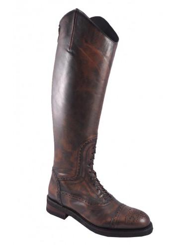 Bottes cavalières cuir marron vintage à lacets - Bottes équitation