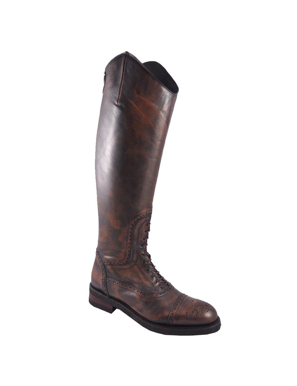 Bottes équitation cuir marron cuivre à lacets Bottes