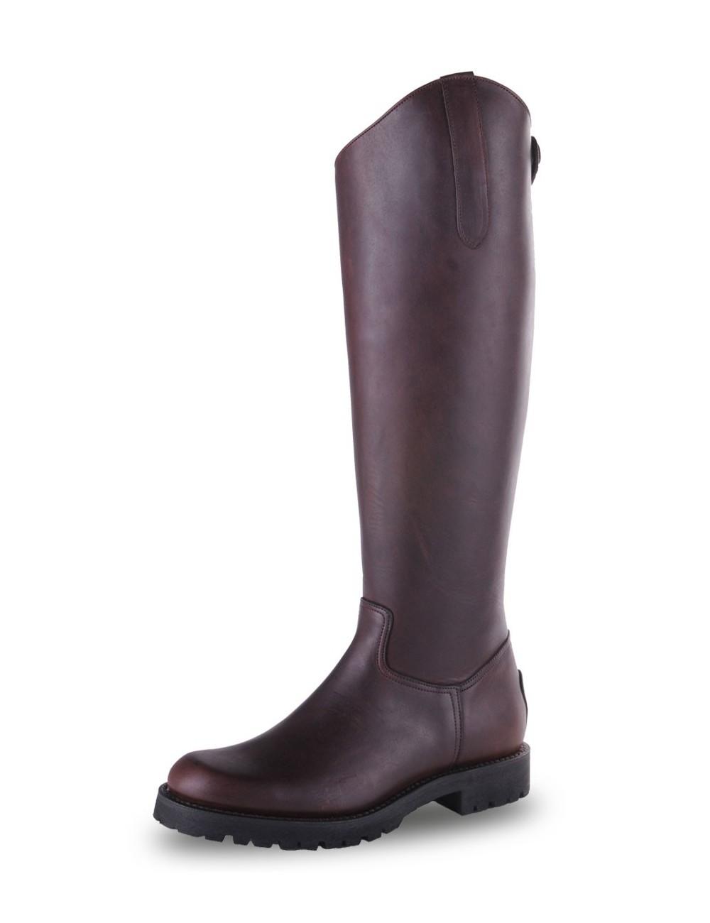 Bottes équitation cuir marron semelle crantée