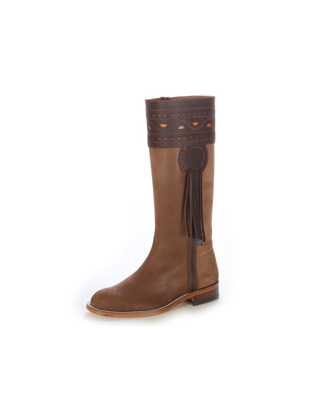 Bottes cavalières - Botte campera nubuck beige et cuir marron