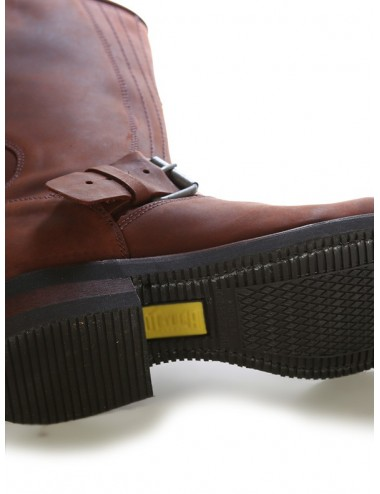 Chaussures moto cuir marron bouts coqués renforts sélécteurs