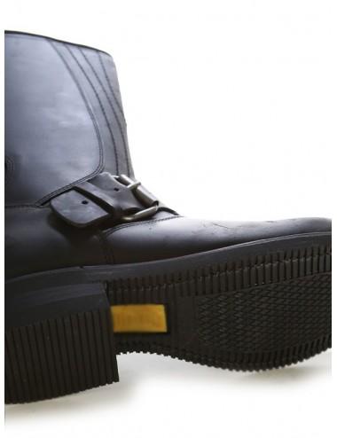 Chaussures moto cuir noir bouts coqués renforts sélécteurs - Bottes moto