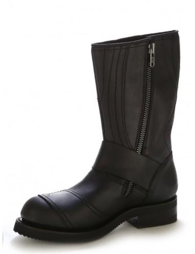 Chaussures moto cuir noir bouts coqués renforts sélécteurs