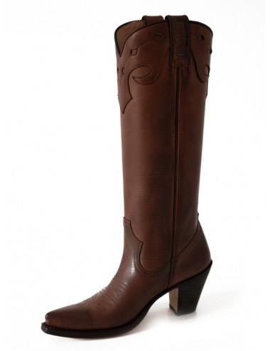 Bottes santiags hautes cuir marron femme