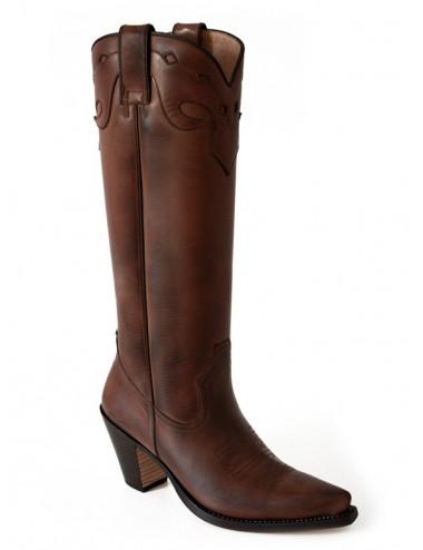 Bottes santiags hautes cuir marron femme - Bottes santiags country