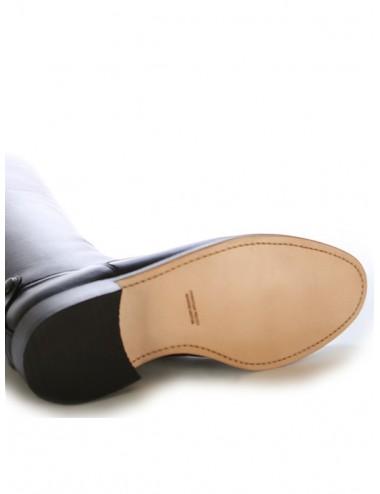 Bottes homme grande taille - Bottes équitation cuir noir à lacets du 48 au