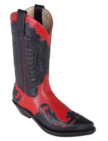 Bottes homme grande taille - Santiags mexicaines noires et rouge grandes