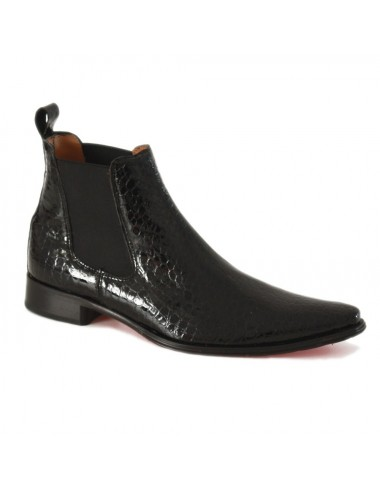 Bottines homme croco noir bout pointu - Bottines homme artisanales