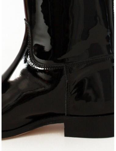 Bottes cavalières - Bottes cavalières vernies noires en cuir