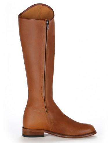 Bottes de dressage en cuir naturel camel - Bottes équitation artisanales