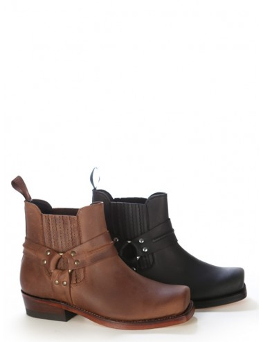 Boots motard - Boots western cuir marron bout carré