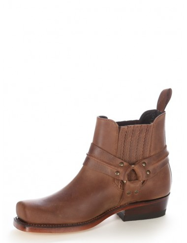 Boots western cuir marron bout carré - Boots motards