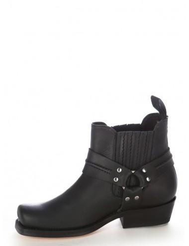 Boots motard - Boots western cuir noir bout carré