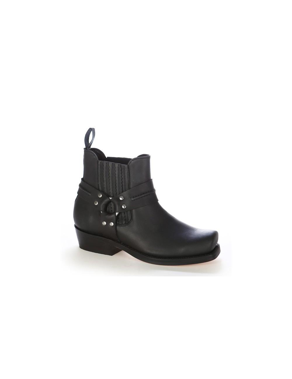 Boots western cuir noir bout carré - Boots motards