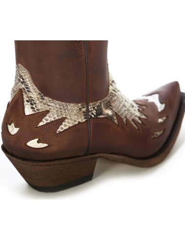 Bottines cowboy - Boots santiags cuir et serpent naturel
