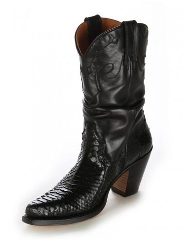 Santiags femme serpent véritable noir - Bottes santiags country artisanales