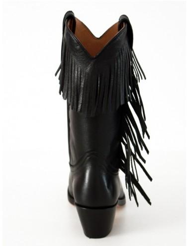 Bottes country cuir noir franges femme - Bottes santiag et country
